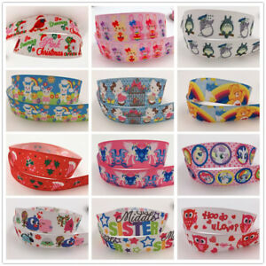 Crafts-Wholesale-5-yds-1-039-039-25mm-printed-grosgrain-ribbon-Hair-bow-sewing-New
