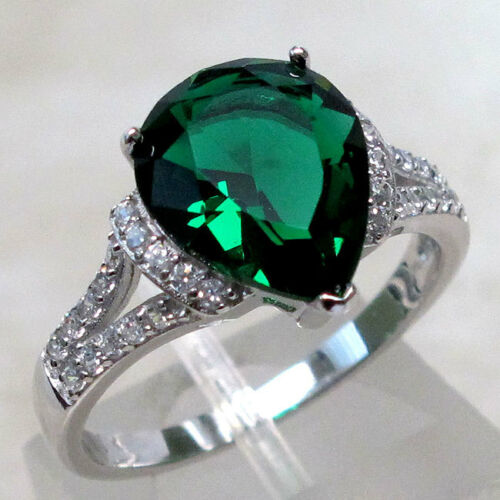 Fancy 3 Ct Emerald 925 Sterling Silver Ring Taille 5-10