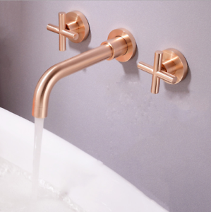 FA Black Wall Mount Bathroom Basin Sink 3 Hole 2 Handle Swivel Mixer Faucet Taps