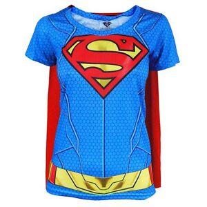 damen dc comics supergirl kost m t shirt mit cape neu superheld kost m ebay. Black Bedroom Furniture Sets. Home Design Ideas