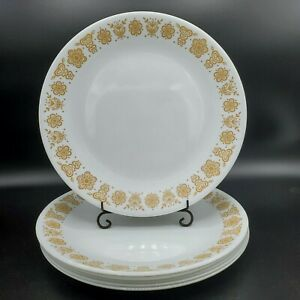 Set-of-4-Vintage-Corelle-Gold-Butterfly-Dinner-Plates-10-1-4-034-Harvest-Yellow