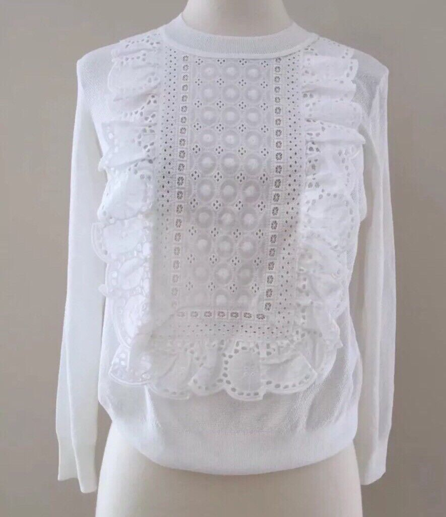 JCREW Eyelet Sweater In Summerweight Cotton XS White Spring 2017 G1290 NEW