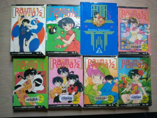 Ranma 1/2 1-3, 5, 7-10, Lot of 8 Shonen Manga, English, 16+, Rumiko Takahashi