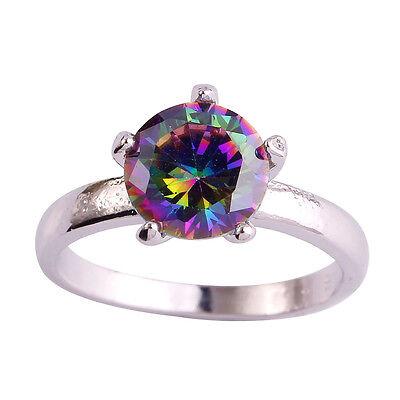 Women Rainbow Topaz Gemstone Jewelry Silver Ring Size 6 7 8 9 10 11 12 Round Cut