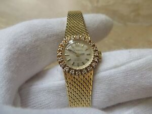Details About Vintage Geneva 14k Solid Gold Diamond Watch 17 Rubis Extra Small 24g