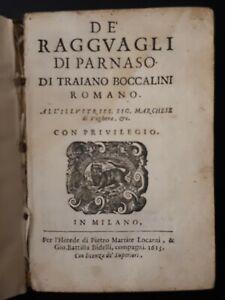 T. Boccalini: De' Ragguagli di Parnaso di Traiano Boccalini Romano.. Milano 1613