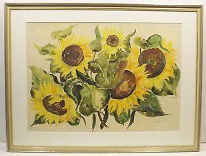 """"""" Bouquet Tournesol En Vase Nature Morte """" Aqua / Mischt...unl.signiert En Cadre"""