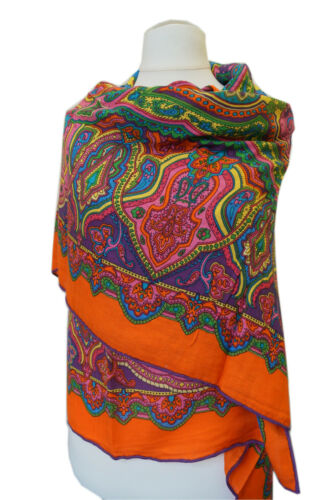 Beau damentuch de Soie-Cachemire-laine handrolliert. 128x128cm