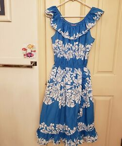 Vintage-Aikane-Hawaiian-Dress-Blue-White-Hibiscus-Womans-Size-Large