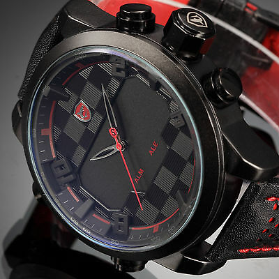 SHARK Men's Digital Quartz Wrist Watch Leather LED Analog Date Alarm Sport Army