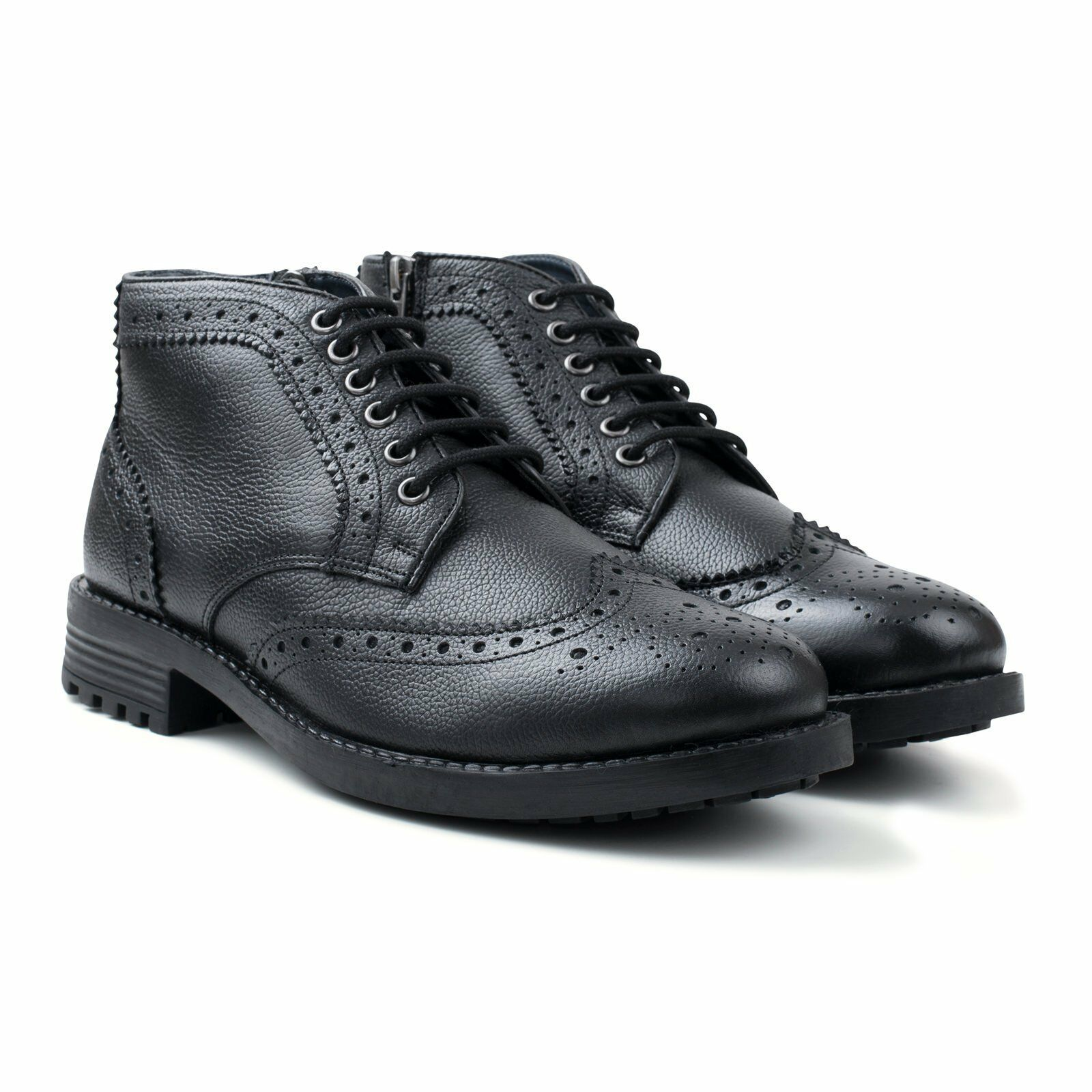 Redfoot Hans Mens Leather Zip & Lace Brogue Work Walking Boots Black UK 9