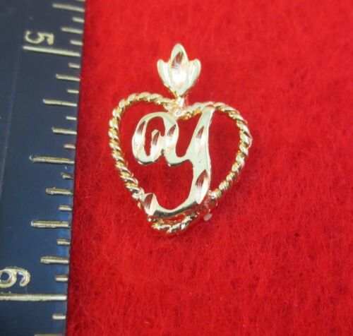 14KT GOLD EP LETTER Y INITIAL HEART CHARM PENDANT