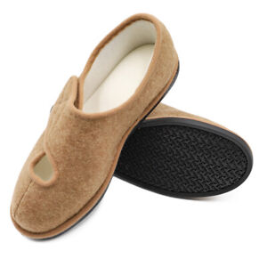 aae244963978f Details about Lady Women Extra Wide Edema Slippers Adjustable Comfort Non  Skid House Shoes