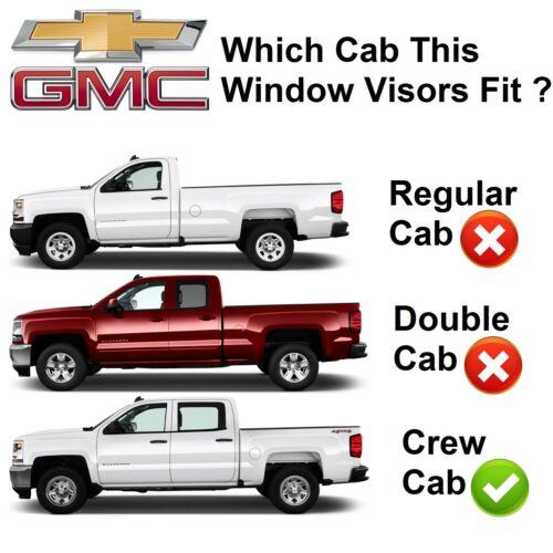 For 2014-2018 GMC Sierra 1500 4pcs Smoke Window Sun Rain Visors Guard Crew Cab