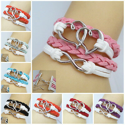 Double Heart Style Leather Cute Infinity U pick Vogue Bracelets Silver Jewelry