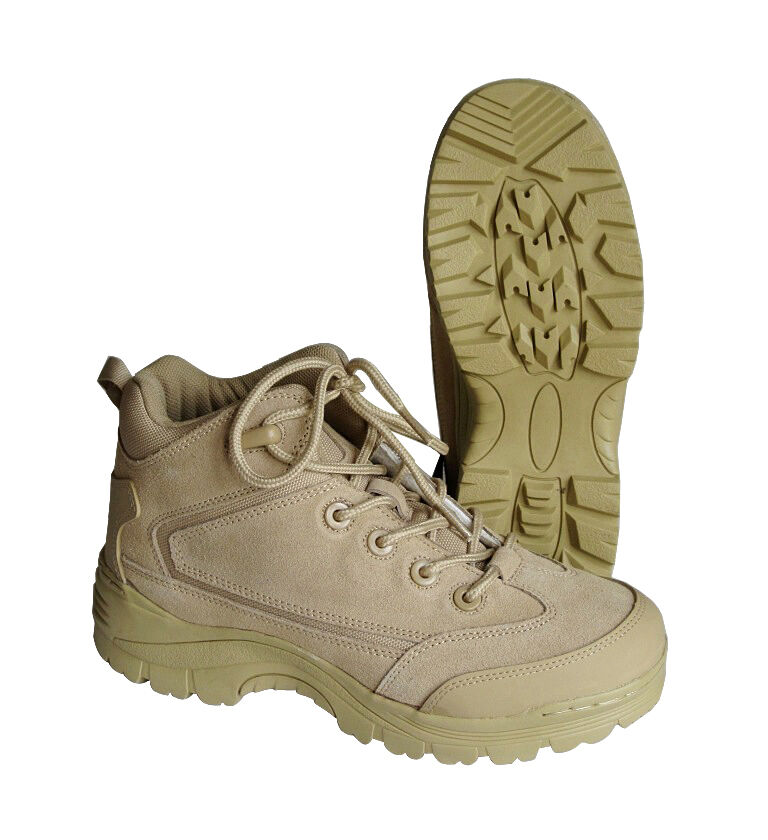 Khaki desert military recon low boots-all sizes-suede military