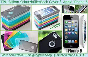 Case Cover Apple iPhone 5 5S Handy Etui Tasche Bumper Schutz hülle + Folie klar