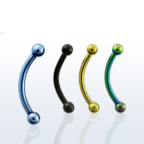 """Anodized Steel Banana Ring Barbell 18G Tiny Small 2mm Balls 5/16"""" 8mm 4 Colors"""