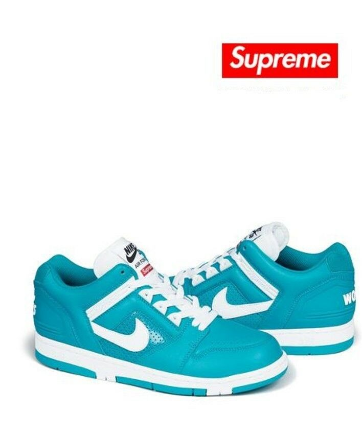 SUPREME X NIKE SB Air Force 2 Teal NIB Leather Upper Size 10
