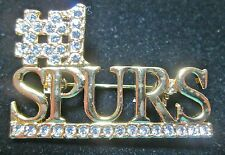 #1 SPURS SPELLED OUT IN GOLD COLOR CLEAR COLOR CRYSTALS PIN
