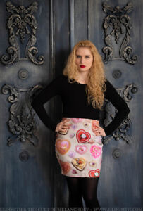 Gloomth Valentine Print Heart Candy Box Miniskirt Sizes XS to 3XL kawaii dolly!