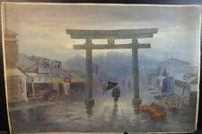 Kunitaro Misei Kosugi Watercolor of a Japanese Street Scene