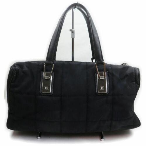 Chanel Tote Bag Chocolate Bar Black Nylon 1404342