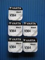 5x V364 VARTA 1,55 Volt/20mAh  Uhrenbatterie - SR60 - SR621 - SR621SW - VARTA