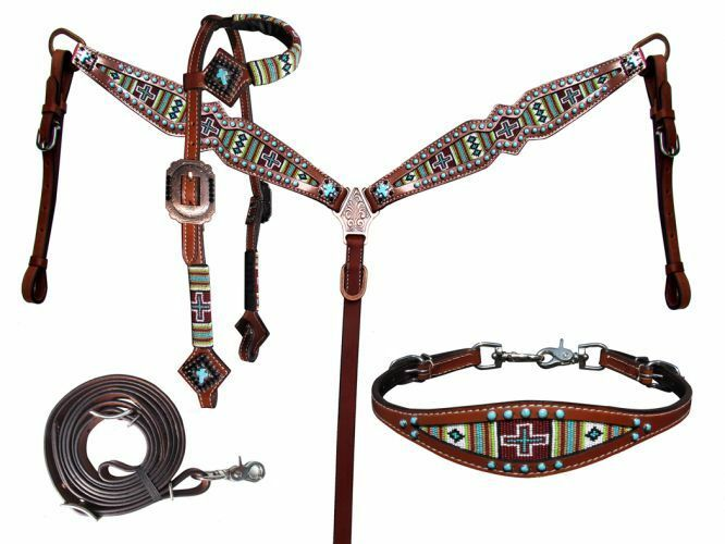 Showman Turquoise Green Cross Navajo Beaded Headstall Breast Collar Wither  Strap  wholesale cheap and high quality