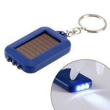 Rechargeable 3 LED Mini Keychain Solar Power Flashlight Torch Lamp Light Blue