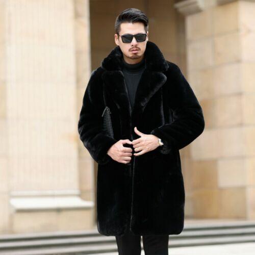 Herrenmode Jacken Kunstfell Mäntel Business Revers Parka Windbreaker Winter Warm