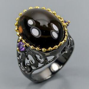 Vintage-SET-Natural-Smoky-Quartz-925-Sterling-Silver-Ring-Size-8-25-R99549