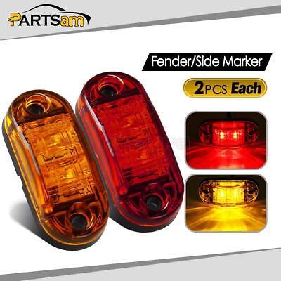 15 Red Amber White 12V Side 3 LED Marker Light Clearance Lamps Truck Van Trailer