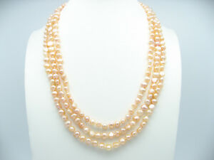 Cultured-Freshwater-Baroque-Pink-Pearl-180cm-71-034-Supper-Long-Necklace-Occasion