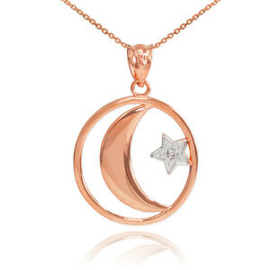 10k Rose Gold Crescent Moon with Diamond Star Islamic Pendant Necklace