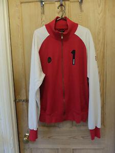 Adidas-Red-White-Vintage-Jacket-Tracksuit-Top-Medium