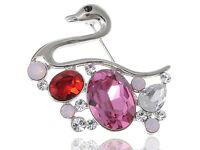 Ruby Rose Pink Love Swimming Swan Bird  Crystal Rhinestone Pin Brooch