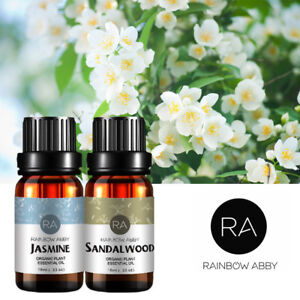 Details about RAINBOW ABBY Essential Oils Set Pure Therapeutic Grade  Jasmine Sandalwood 2x10ml