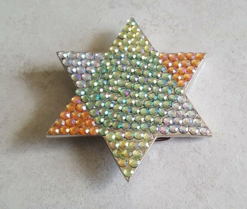 Bling Star Crystal Rhinestones Silver Chrome Woman Belt Buckle