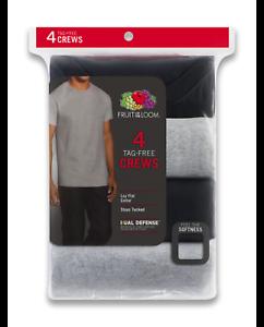 Fruit of the Loom Men/'s 4 Pack Crew T-shirt Black Gray Size 2XL