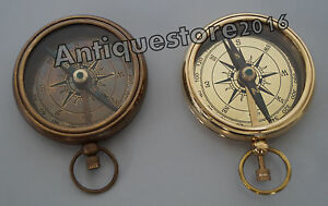 """Nautical Solid Brass Working Collectible Designer Antique Set Of 2 Compasses 2"""""""