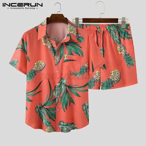 Men-039-s-Hawaiian-Beach-Suit-Printed-Shorts-Shirts-Short-Party-Fancy-Hippie-Set
