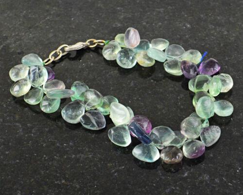 """199.00 cts naturel 8/"""" pouces de long Multicolore Fluorite Poire Perles Bracelet"""
