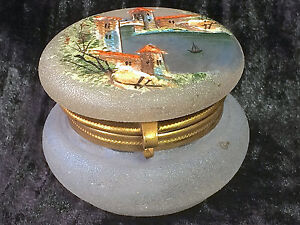 Antique 19th Century Frosted Glass Brass Hinged Trinket Box Enamel Hand Painted