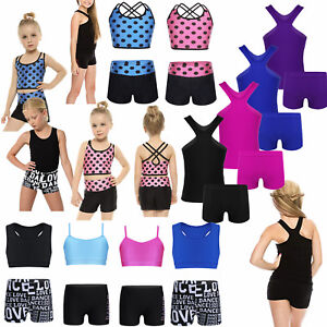 f3f0116cb Girls Kids 2-Piece Active Dance Sport Outfits Gymnastics Ballet ...