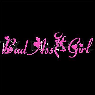 BAD ASS GIRL GIRLS DECAL BROWNING HEART VINYL STICKER