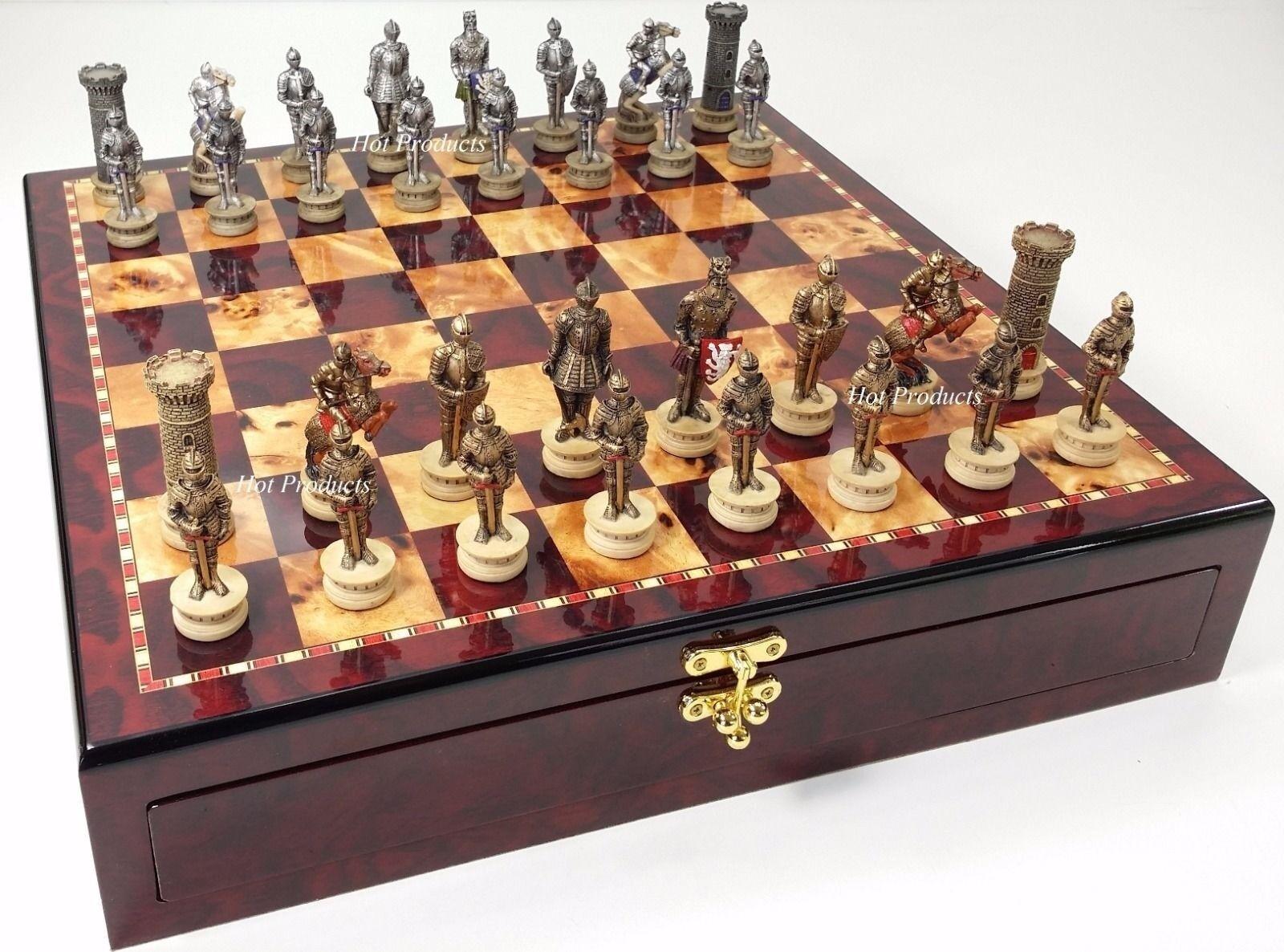 Moyen âge croisades armoruge  knight Chess Set cerise couleur de conservation Board  promotions discount