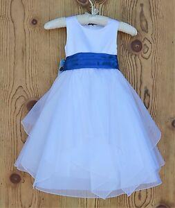 White-Tiered-Shimmering-Organza-Flower-Girl-Dress-Princess-Ceremony-Wedding-J012
