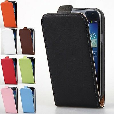 Luxury Genuine Leather Case Vertical Flip Cover For Samsung Galaxy S4 Mini I9190