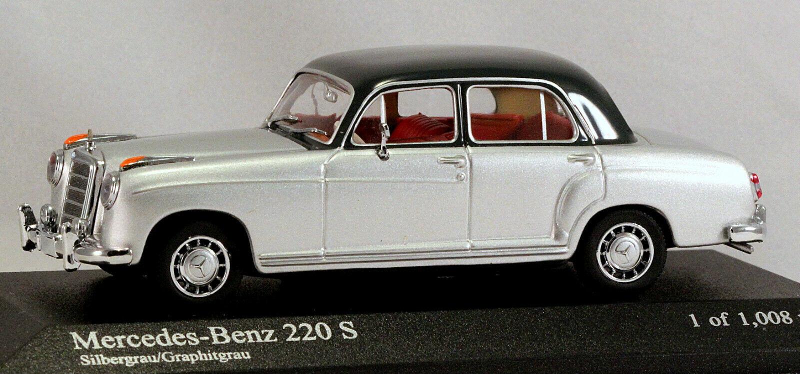 1 43 Minichamps 430033007 Mercedes Benz 220S W180 1956 argento Menta en caja